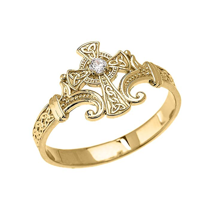 10k Yellow Gold Solitaire Cubic Zirconia Celtic Cross with Trinity Knot Design Elegant Ring