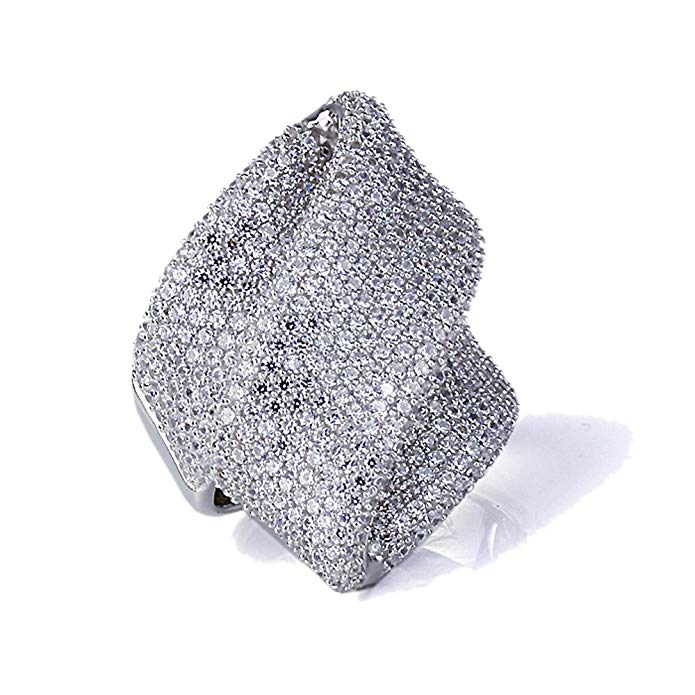 Rhodium Plated Sterling Silver Flowing Illusion Design, CZ Beautiful Pave Set Right Hand Ring 24mm
