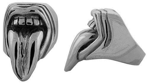 Sterling Silver Mouth Gothic Biker Ring with Tongue Sticking Out, 1 1/4 inch wide, sizes 9-14