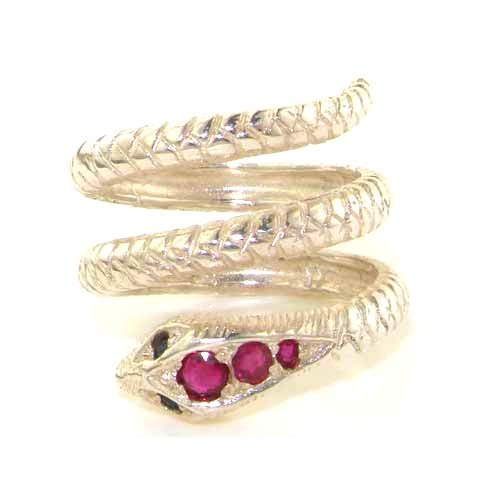 925 Sterling Silver Real Genuine Ruby and Sapphire Womens Band Ring