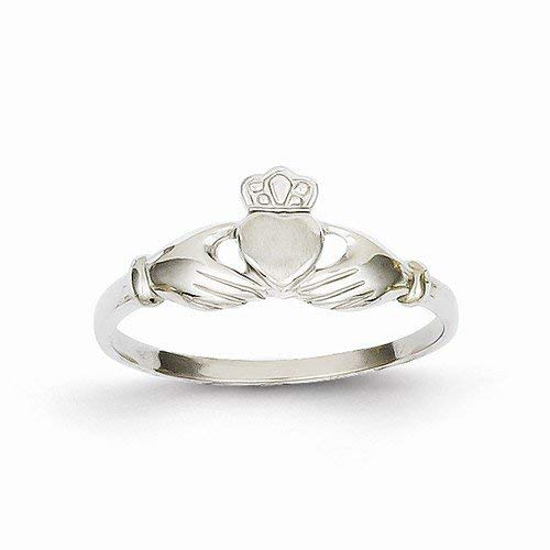 Solid 14k White Gold Polished & Satin Claddagh Ring (4 to 16 mm)