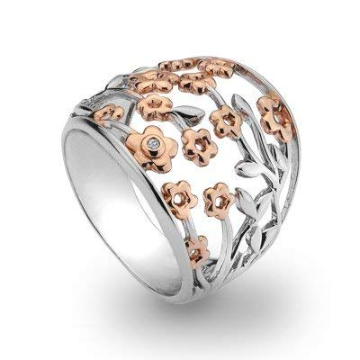 Hot Diamonds Shades of Spring Blossom Ring, 18ct Rose Gold Vermeil