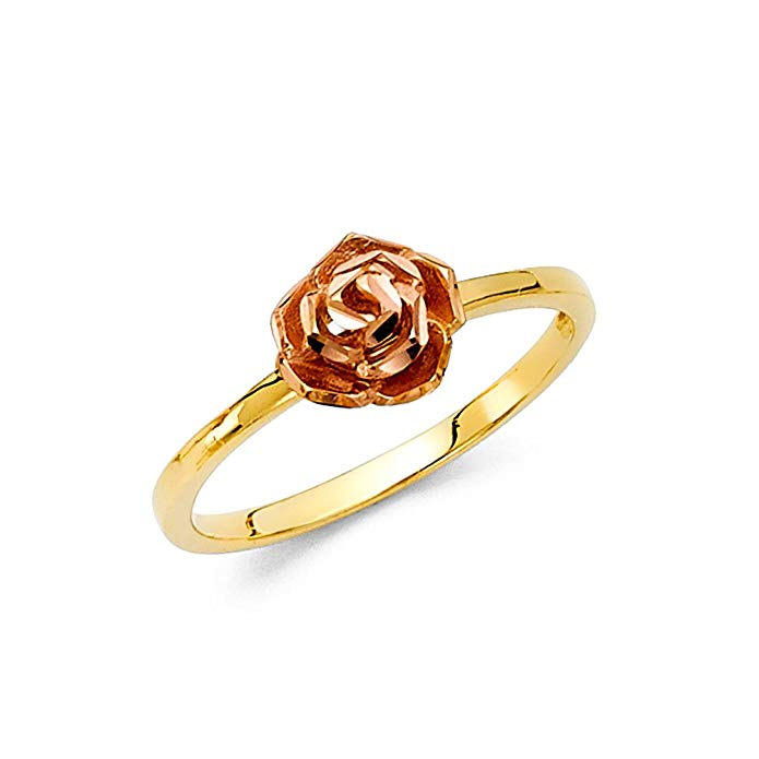 14k Rose Yellow Gold Rose Ring Flower Band Cocktail Ring Diamond Cut Floral Style Two Tone