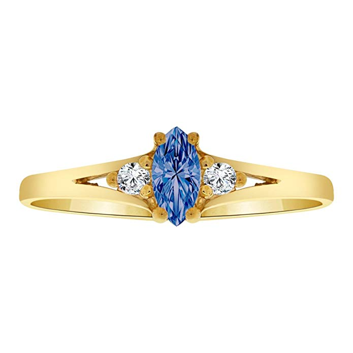 14k Yellow Gold, Dainty Marquise Shape Ring Blue CZ Sep Synthetic Birthstones
