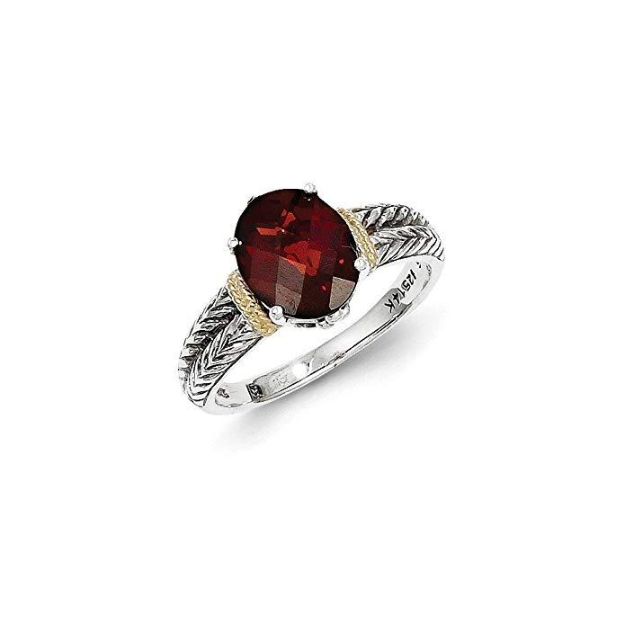Jewels By Lux Sterling Silver w/14k Garnet Ring