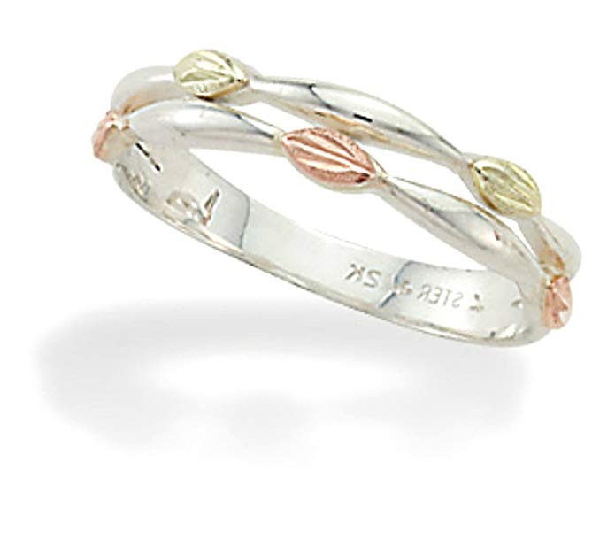 Petite Leaves Ring, Sterling Silver, 12k Gold Pink and Green Gold Black Hills Gold Motif