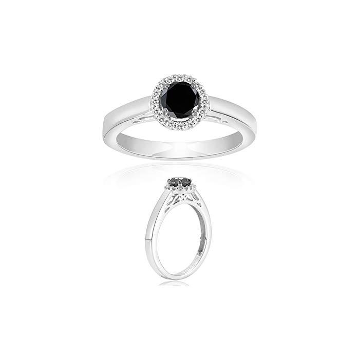 Vogati 0.60 Cts Black & White Diamond Ring in Silver