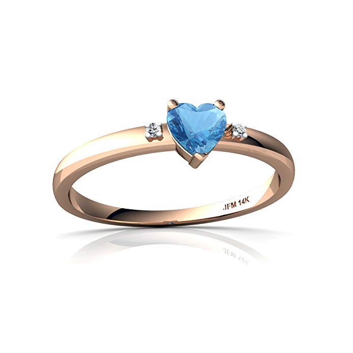 14kt Gold Blue Topaz and Diamond 4mm Heart Sweet and Petite Ring