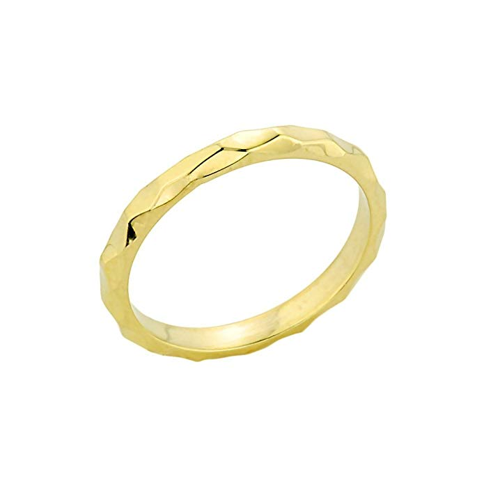 Solid 14k Yellow Gold Mid Finger Spike Band Midi Knuckle Ring