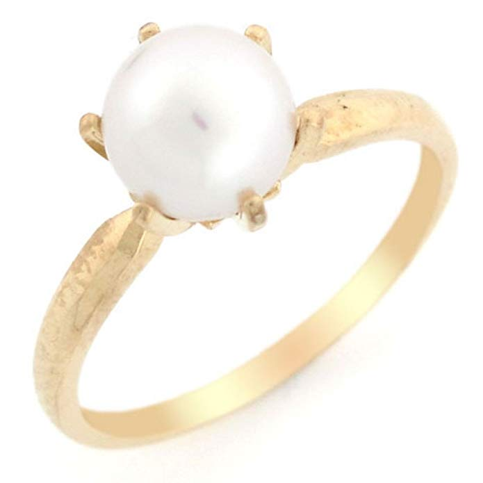 10k Solid Yellow Gold Cultured Pearl Solitaire Ring Jewelry