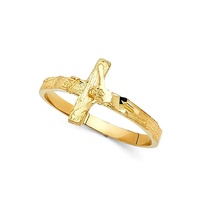 INRI Jesus Cross Ring Solid 14k Yellow Gold Crucifix Band Diamond Cut Polished Genuine 11MM