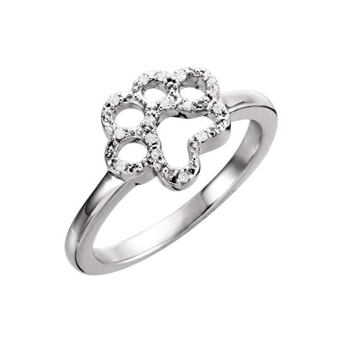 Bonyak Jewelry Sterling Silver .06 CTW Diamond Paw Ring - Size 7