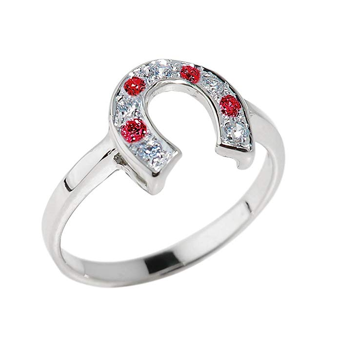 Fine 14k White Gold Red and White CZ Lucky Horseshoe Ring