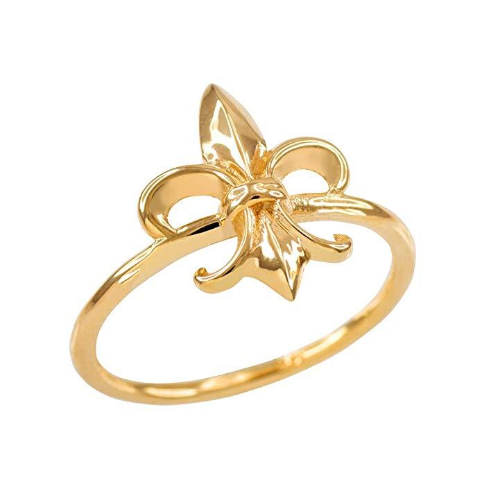 Dainty 14k Yellow Gold Fleur-de-Lis Ring