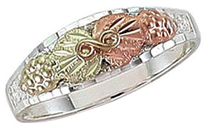 Landstroms Black Hills Silver Ladies or Childs Ring with 12k Gold Leaves - C201SS