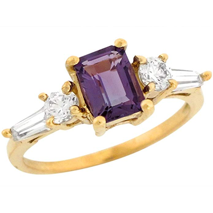 10k Yellow Gold Amethyst White CZ Accents Gorgeous Simple Ring
