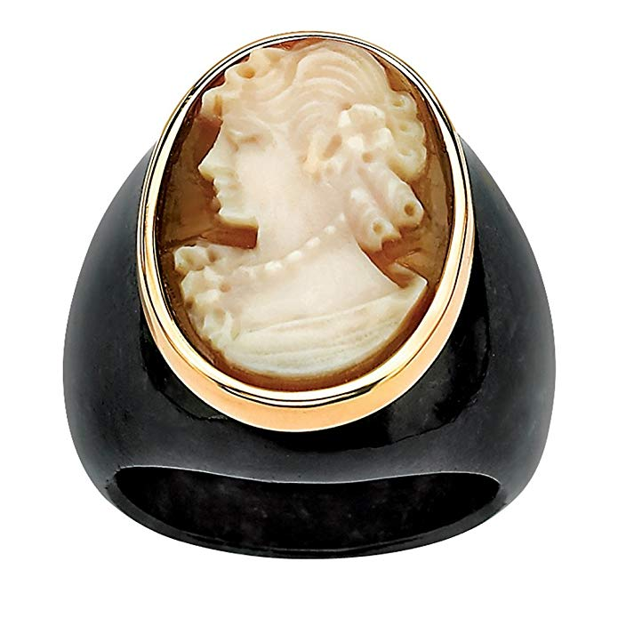 Genuine White Shell and Black Onyx 10k Yellow Gold Oval Hand-Carved Cameo Ring