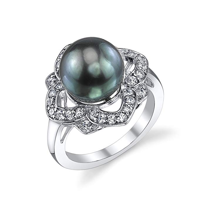 10-11mm Genuine Black Tahitian South Sea Cultured Pearl & Cubic Zirconia June Ring for Women
