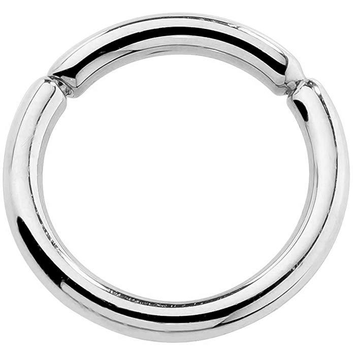 14K White Gold Segment Nose Hoop Nipple Eyebrow Labret Lip Ring Tragus Cartilage Earring 16G