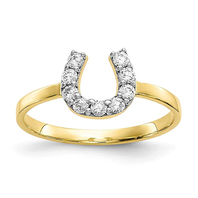 ICE CARATS 10kt Yellow Gold Cubic Zirconia Cz Horse Shoe Band Ring Good Luck Fine Jewelry Ideal Gifts For Women Gift Set From Heart