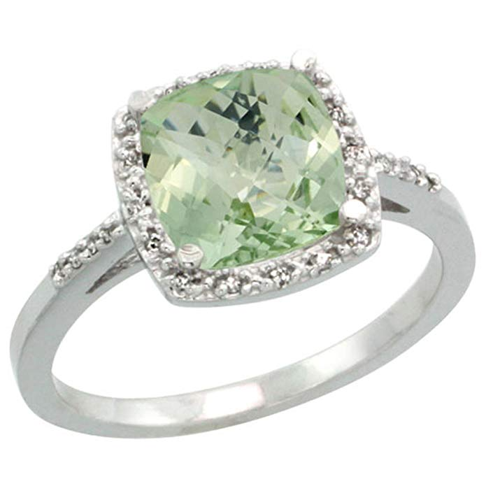 Sterling Silver Diamond Natural Green Amethyst Ring Cushion-cut 8x8mm, 1/2 inch wide, sizes 5-10