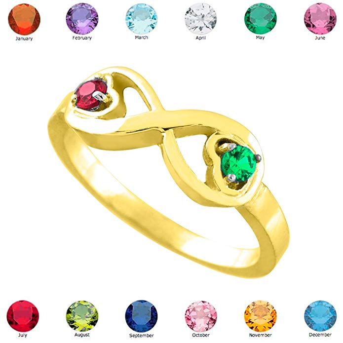Fine 10k Yellow Gold Mix-and-Match Dual Heart CZ Personalized Birthstone Infinity Ring