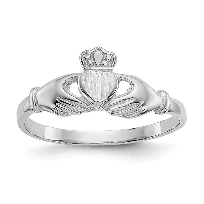 ICE CARATS 14kt White Gold Irish Claddagh Celtic Knot Band Ring Fine Jewelry Ideal Gifts For Women Gift Set From Heart