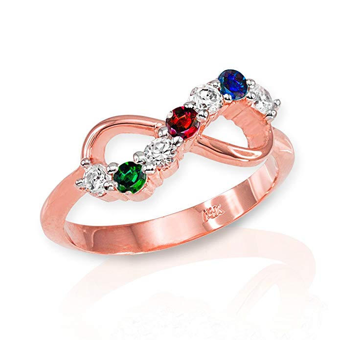Dainty 10k Rose Gold Halfway CZ Personalized Mix-and-Match Infinity Ring