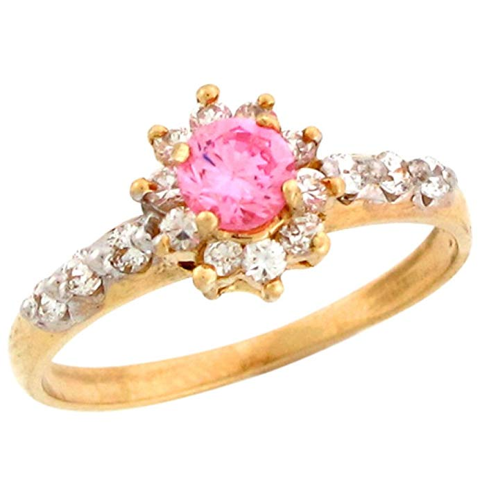 10k Real Gold Pink & White CZ Beautiful Ladies Simulated October Birthstone Ring