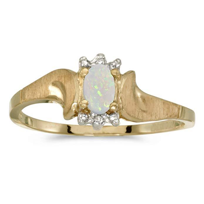 10k Yellow Gold Oval Opal And Diamond Satin Finish Ring