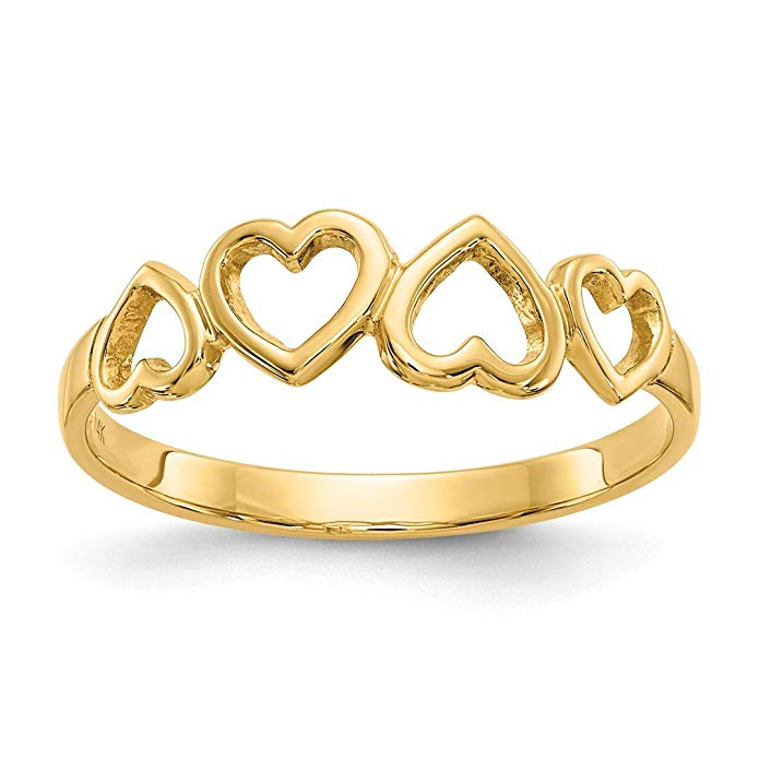 ICE CARATS 14kt Yellow Gold Heart Band Ring S/love Fine Jewelry Ideal Gifts For Women Gift Set From Heart