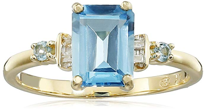 10k Yellow Gold Genuine Swiss Blue Topaz and Diamond Ring, Size 7