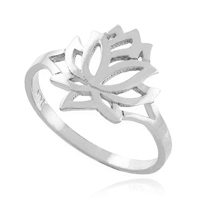 Fine 14k White Gold High Polish Open Lotus Flower Ring