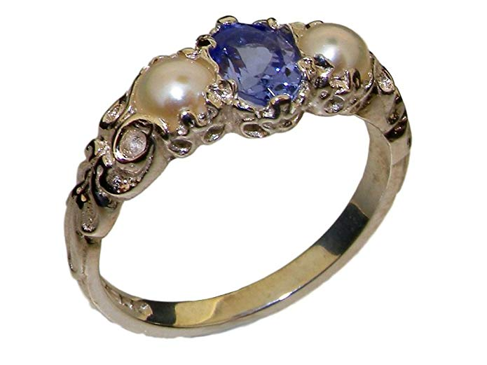 925 Sterling Silver Real Genuine Tanzanite & Cultured Pearl Womens Band Ring