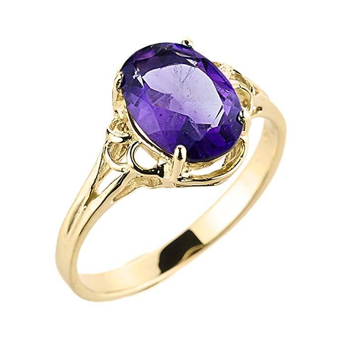 Modern Contemporary Rings Elegant 14k Yellow Gold February Birthstone Genuine Amethyst Gemstone Ring