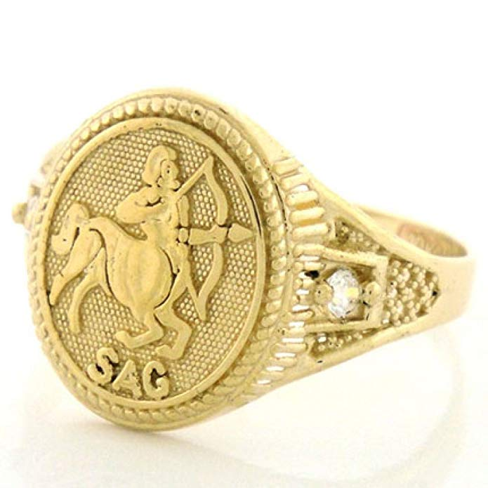 10k Solid Yellow Gold Zodiac CZ Ring - Sagittarius