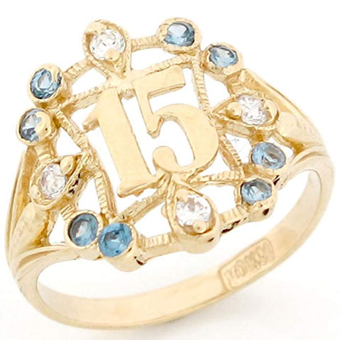 10k Gold Beautiful Quinceanera 15 Anos Simulated Birthstone Ring