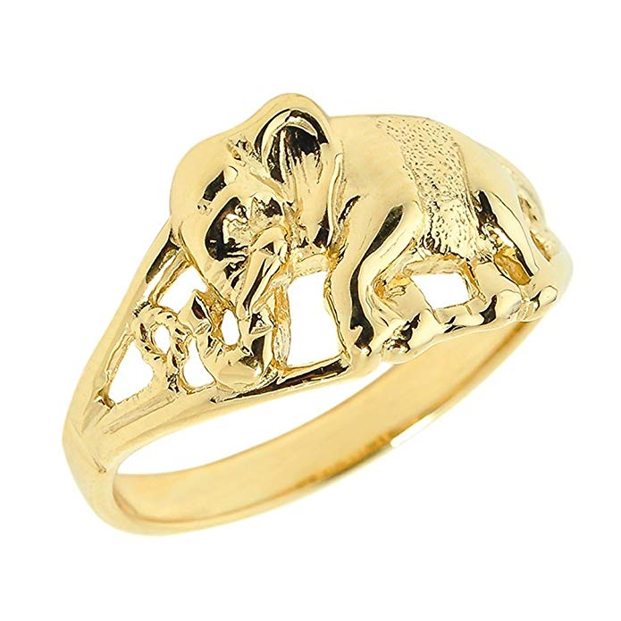 14k Yellow Gold Open Design Indian Elephant Ring