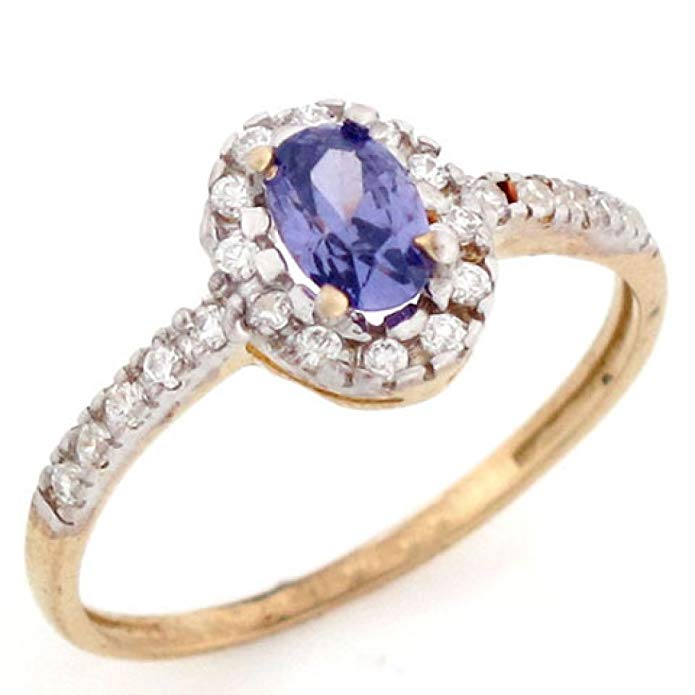 14k Solid Real Gold Oval Simulated Amethyst February Birthstone CZ Ring Jewelry