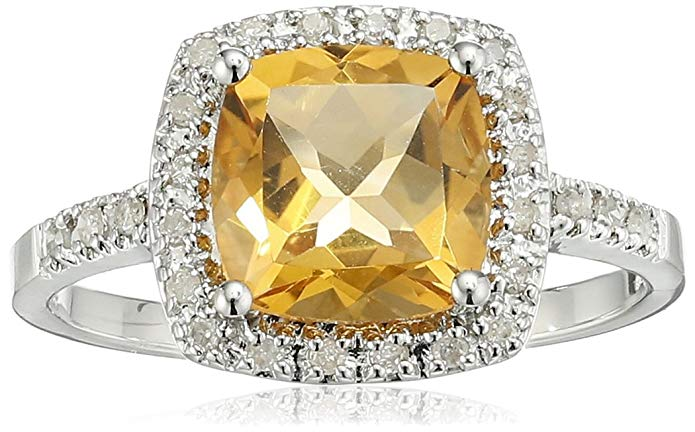 Sterling Silver Citrine and Diamond Cushion Halo Ring (0.14 cttw, I-J Color, I2-I3 Clarity), Size 8