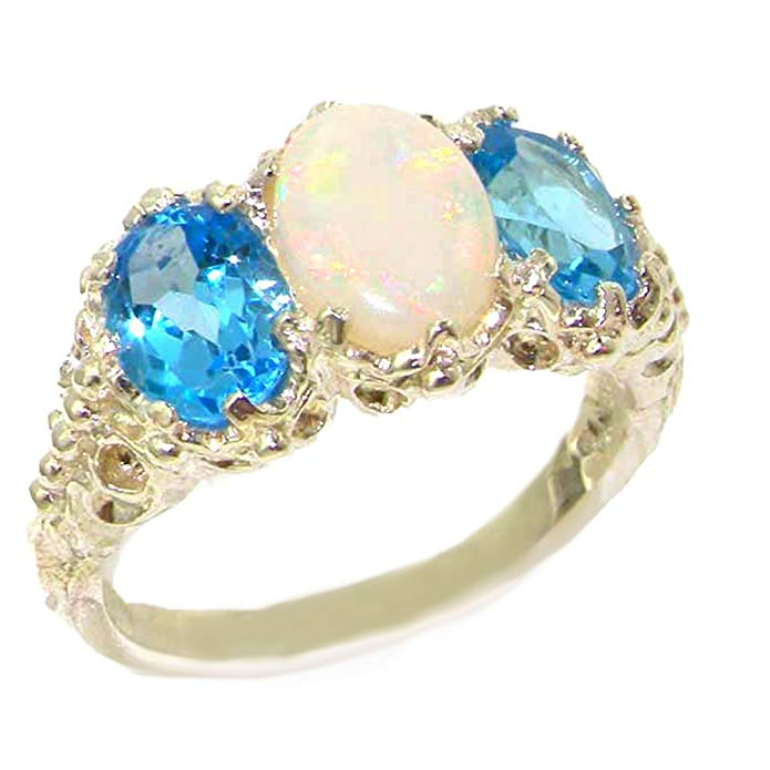 925 Sterling Silver Real Genuine Opal and Blue Topaz Womens Band Ring