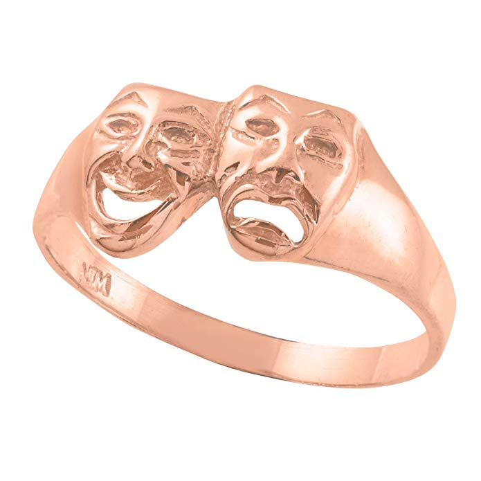 Polished 10k Rose Gold Theater Acting Masks of Comedy and Tragedy Drama Ring