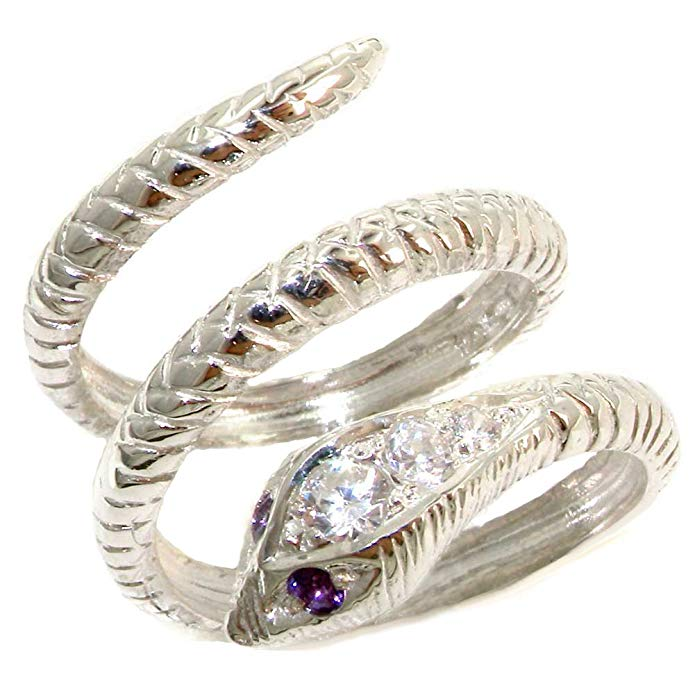 925 Sterling Silver Cubic Zirconia and Real Genuine Amethyst Womens Band Ring