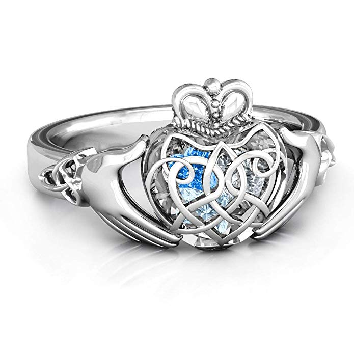 Sterling Silver Caged Hearts Celtic Claddagh Ring by JEWLR