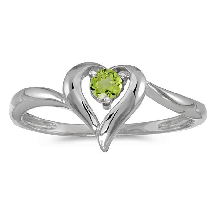 10k White Gold Round Peridot Heart Ring