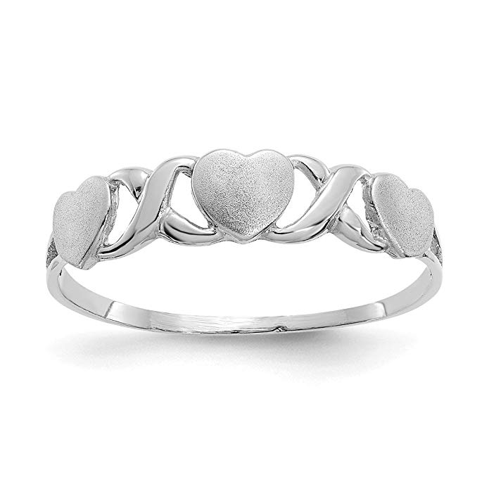 ICE CARATS 14kt White Gold Triple Heart Band Ring S/love Fine Jewelry Ideal Gifts For Women Gift Set From Heart