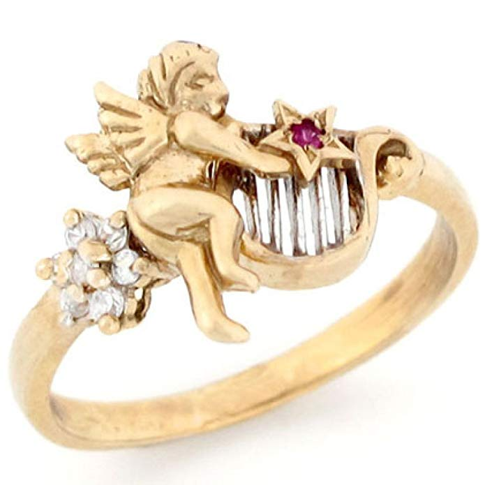 10k Two Tone Gold Star Red & White CZ Angel Harp Ring