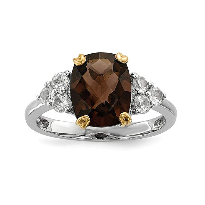 Sterling Silver 3.39ct & 14K Yellow Gold-Plated Smoky Quartz & White Topaz Ring