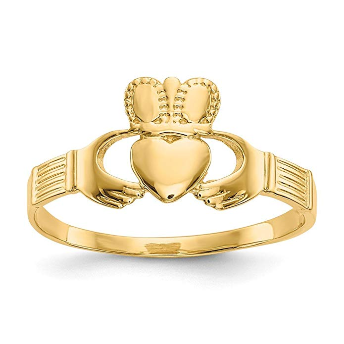 ICE CARATS 14kt Yellow Gold Ladies Irish Claddagh Celtic Knot Band Ring Fine Jewelry Ideal Gifts For Women Gift Set From Heart