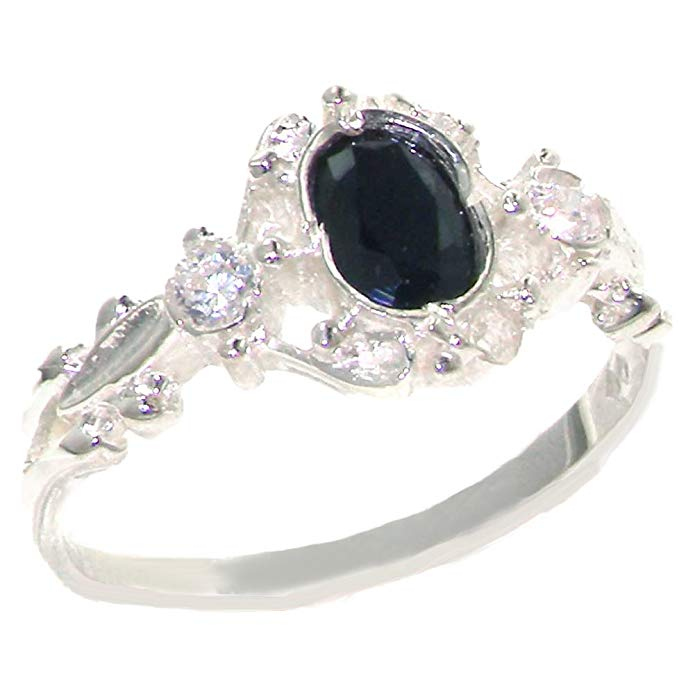 925 Sterling Silver Cubic Zirconia and Real Genuine Sapphire Womens Band Ring